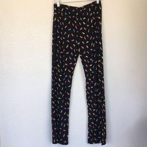 LBisse Pants - LBisse large feather black pants